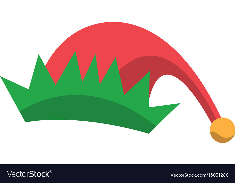red and green hat of elf christmas icon royalty free vector rh vectorstock com Black and White Elf Hat Black and White Elf Hat
