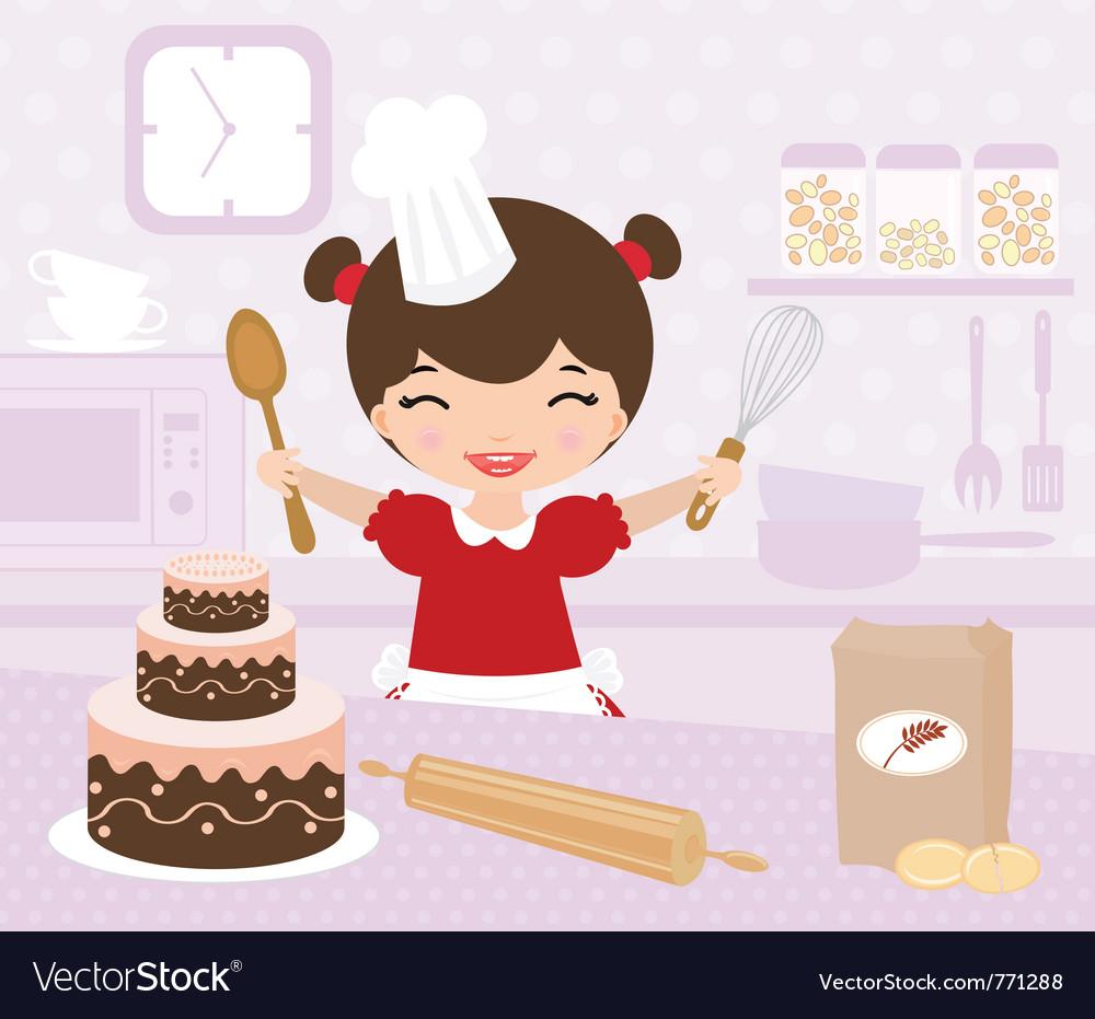 Cute little girl baking vector image