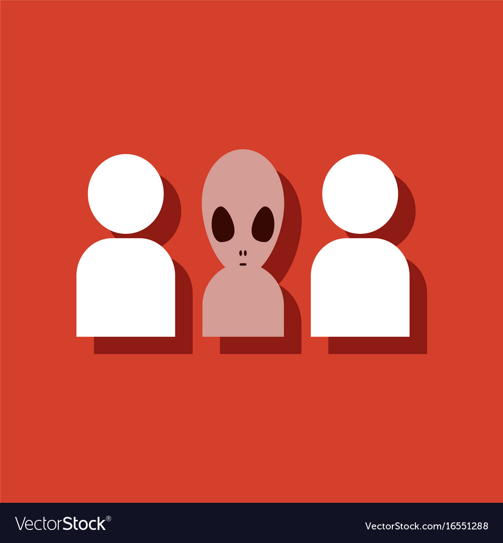 Flat icon design collection aliens silhouettes in