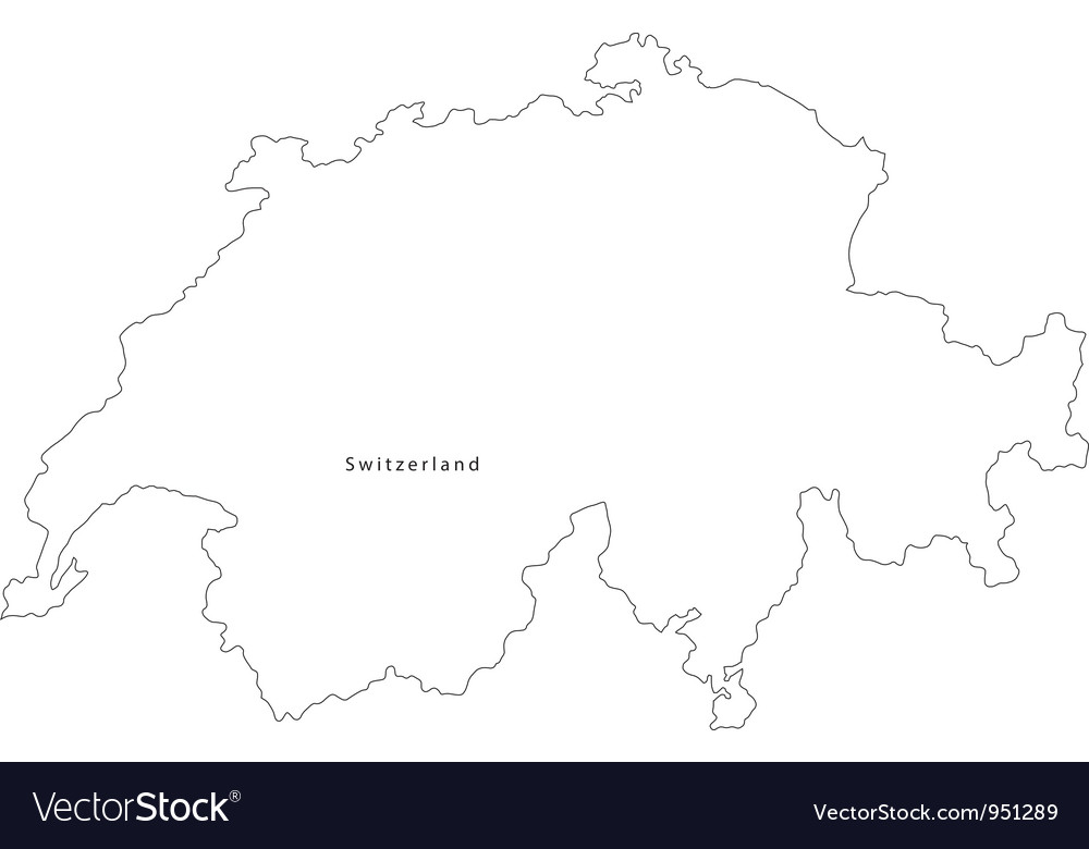 black white switzerland outline map vector image
