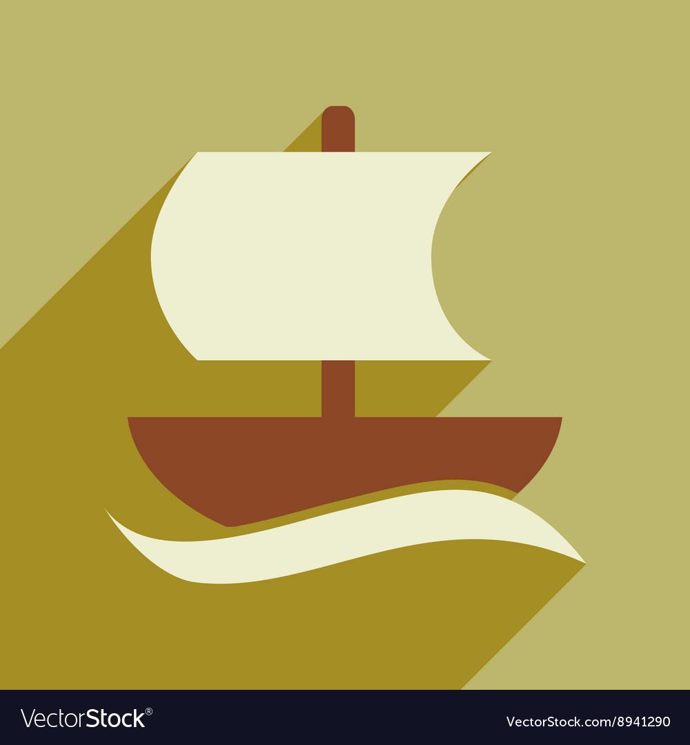 Flat web icon with long shadow sailing ship