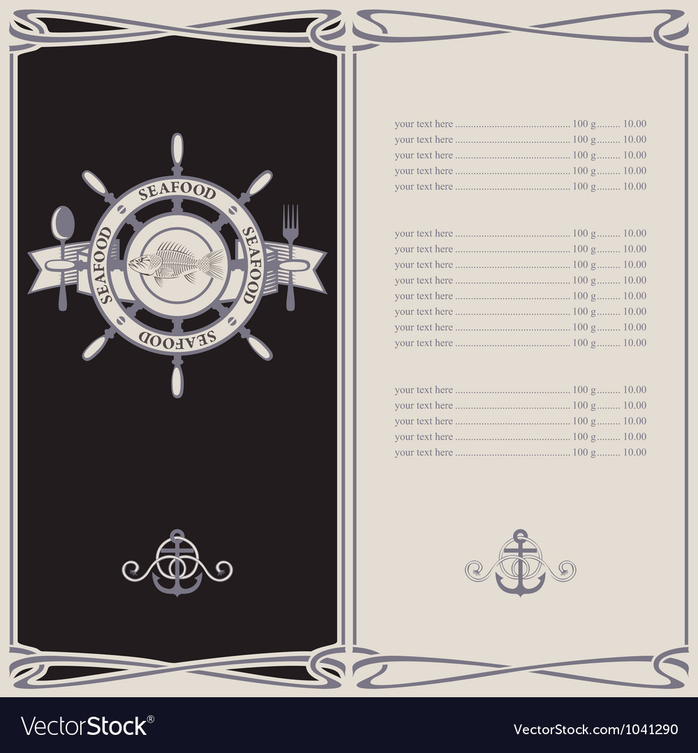 Menu pirates vector image