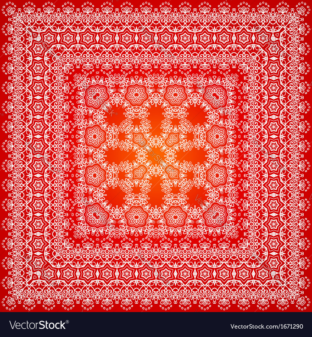 Red ornate shawl pattern vector image