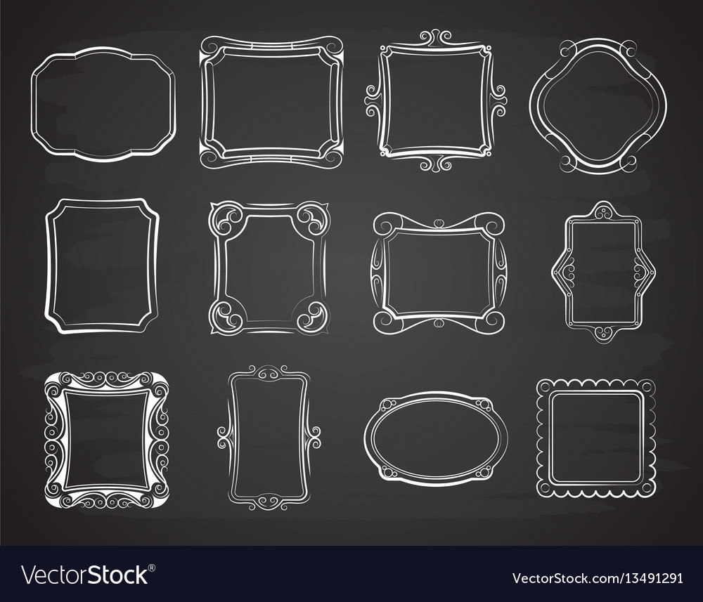 Doodle portrait photo frames sketch vector image
