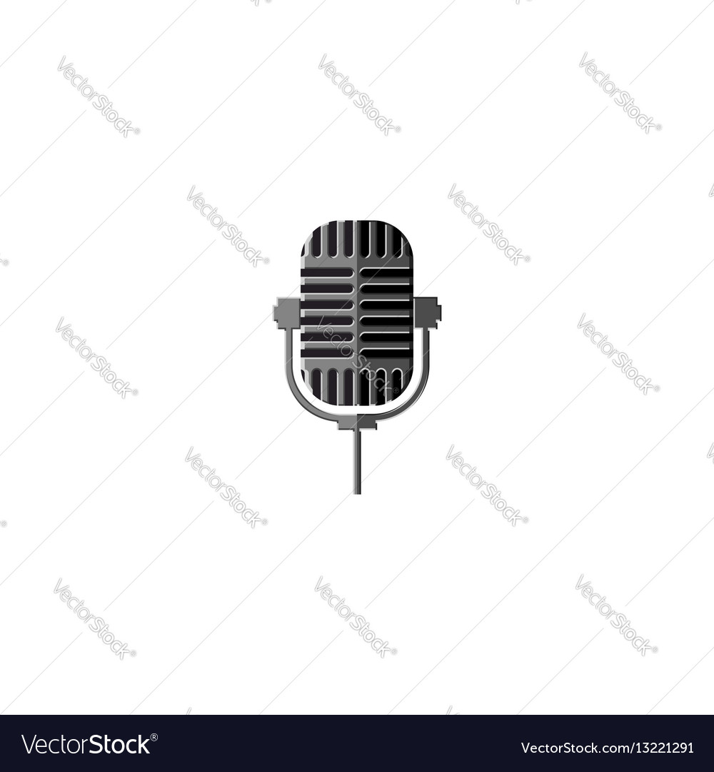 Old metal microphone isolated design element for a vector image