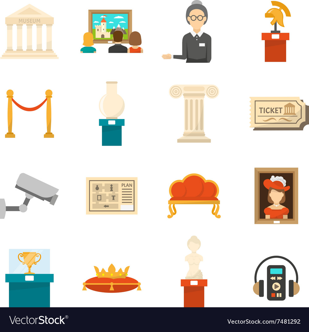 Museum Decorative Flat Color Icons Set vector image