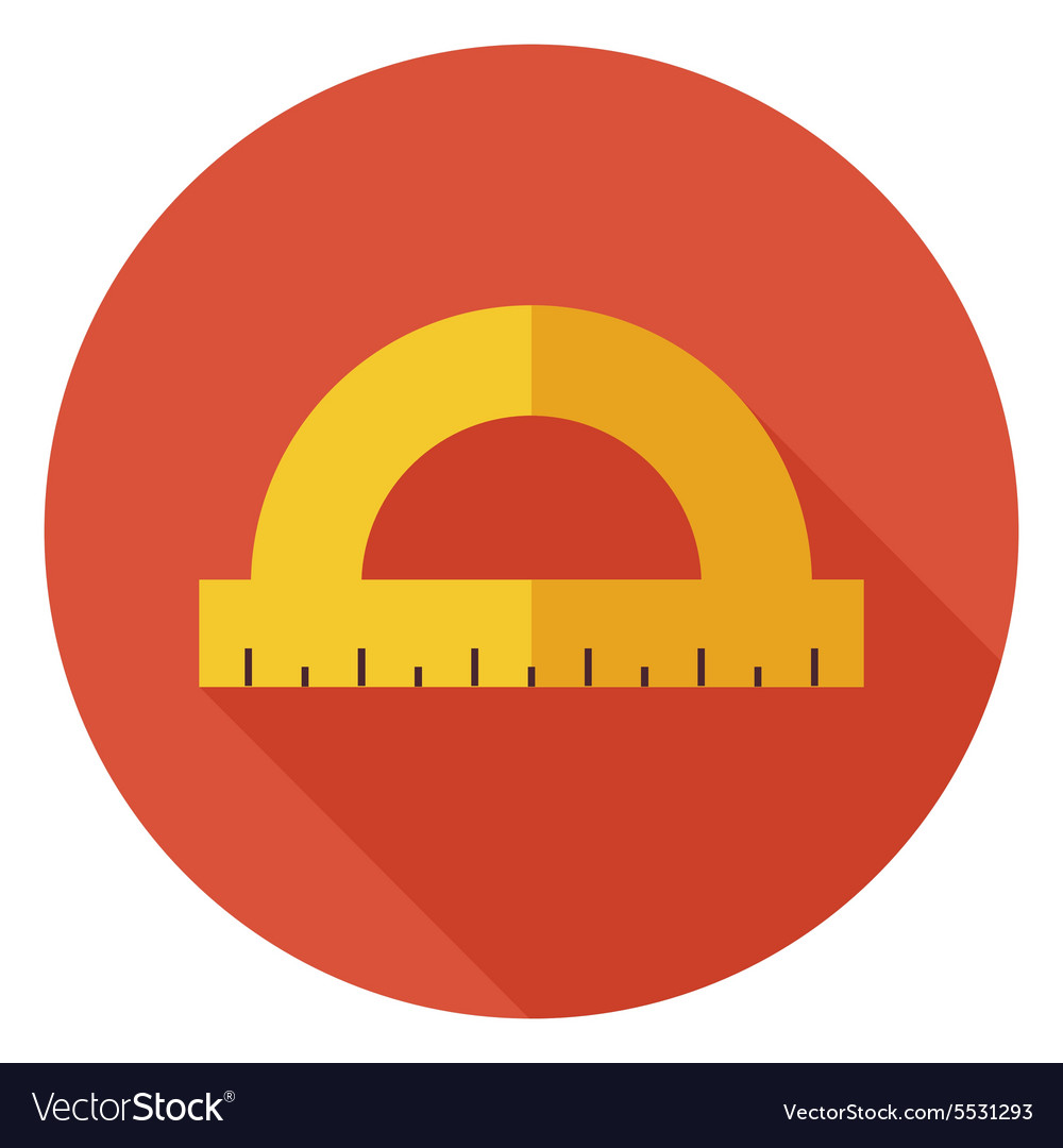 Flat Office Measure Instrument Protractor Circle vector image