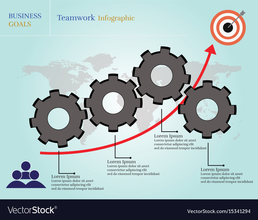 Business goals teamwork infographic vector image