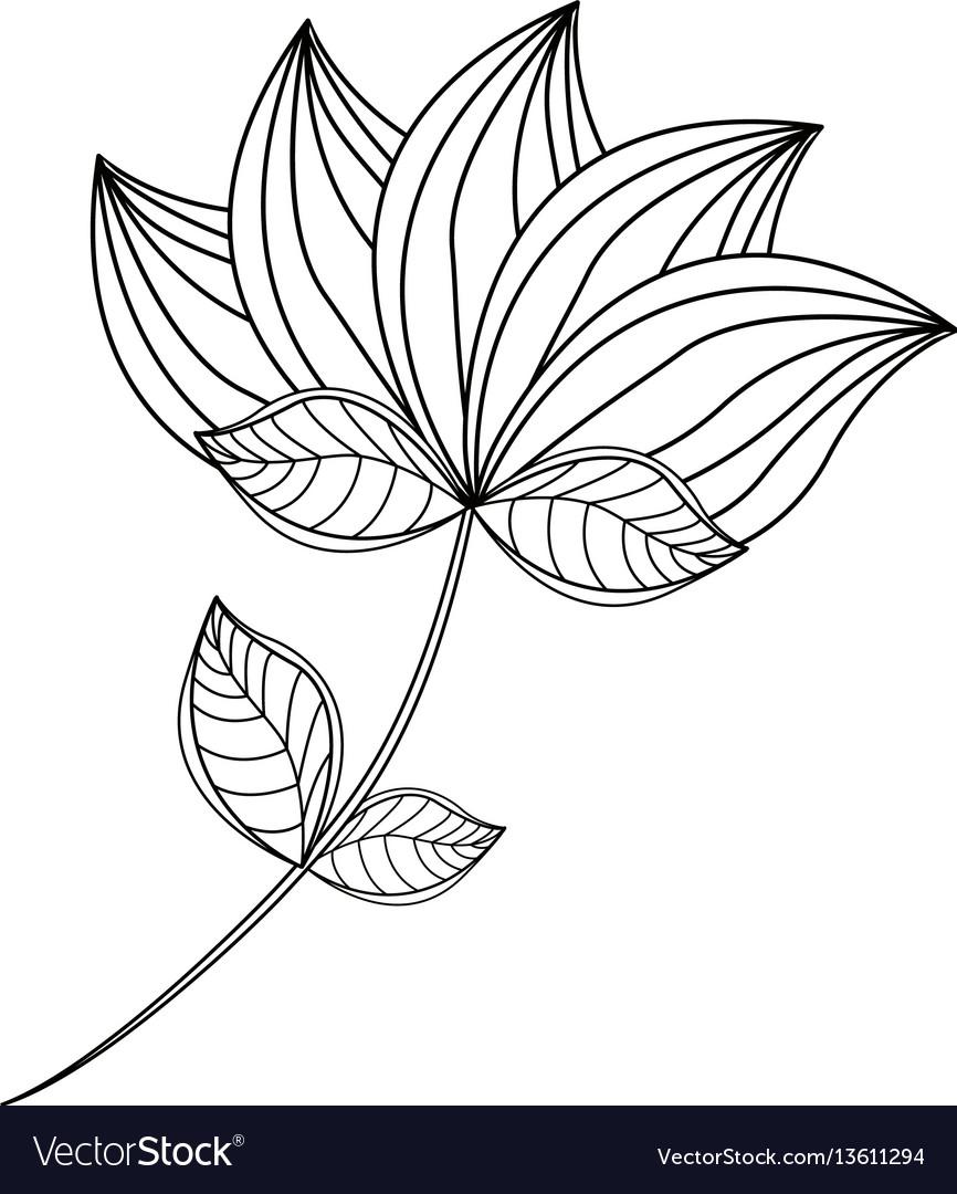 Lotus flower decoration line vector image
