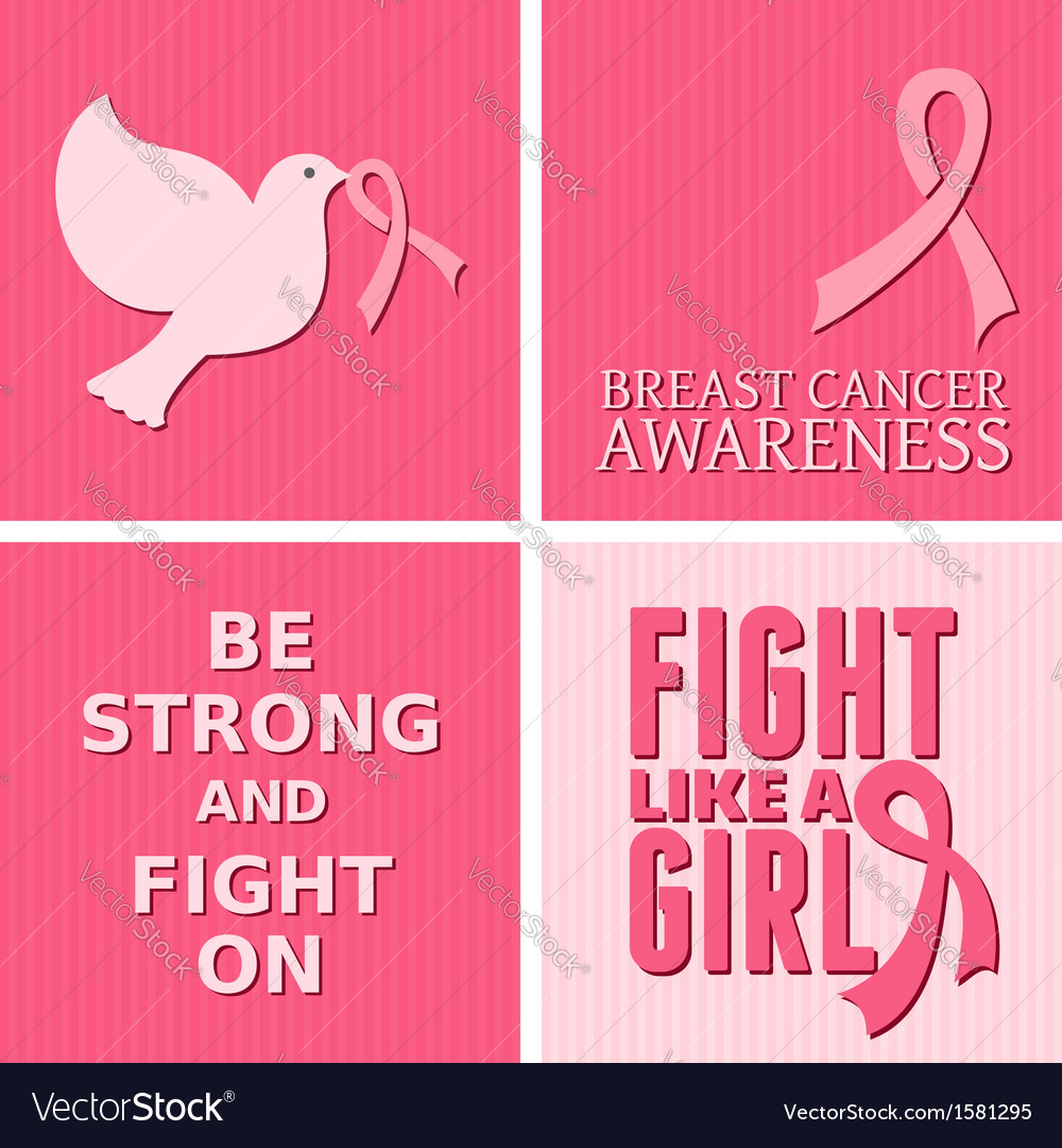 Breast cancer awareness pink cards set vector image