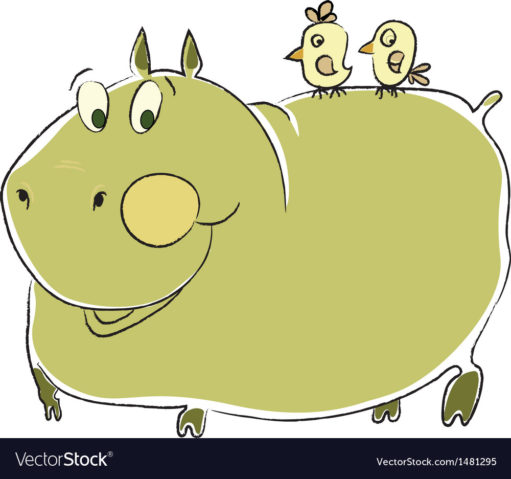 Friendly hippo vector image