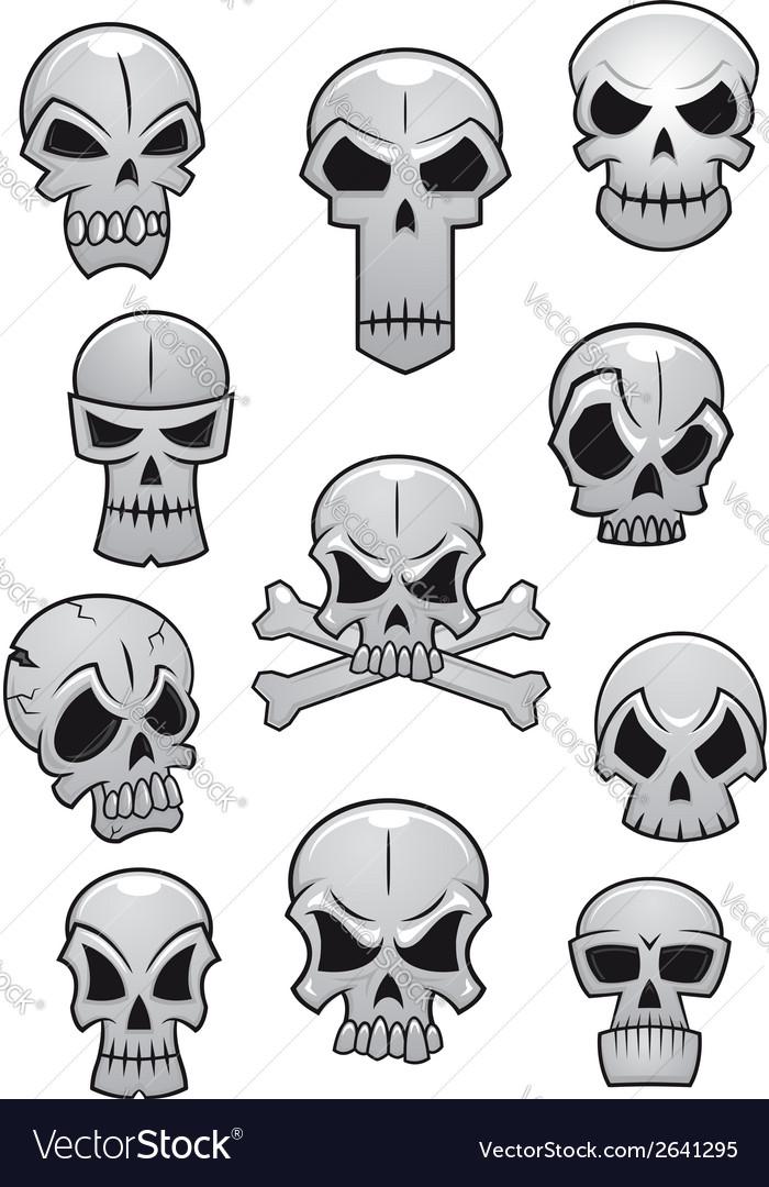 Human Halloween skulls set vector image