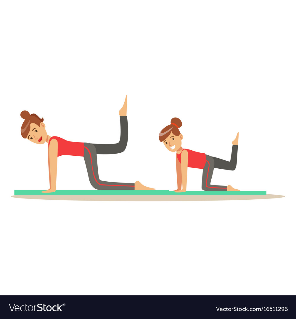Smiling woman and girl doing fitness exercises on vector image