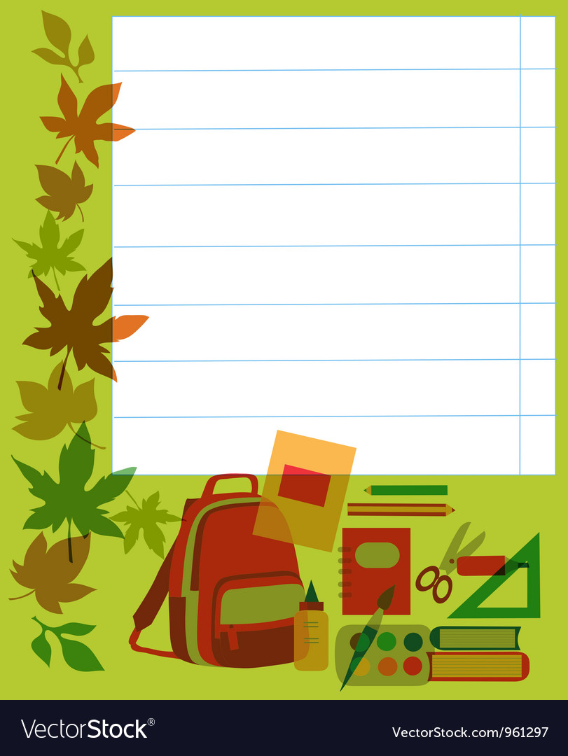 Back to school School notebook with supplies vector image