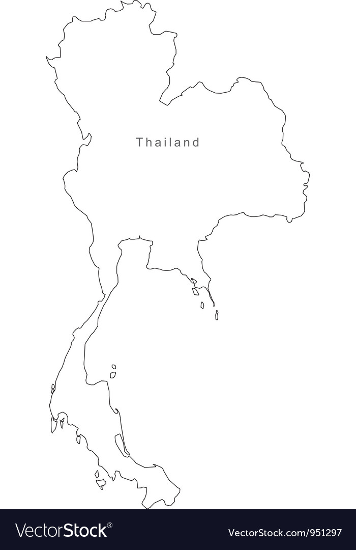 Black White Thailand Outline Map vector image