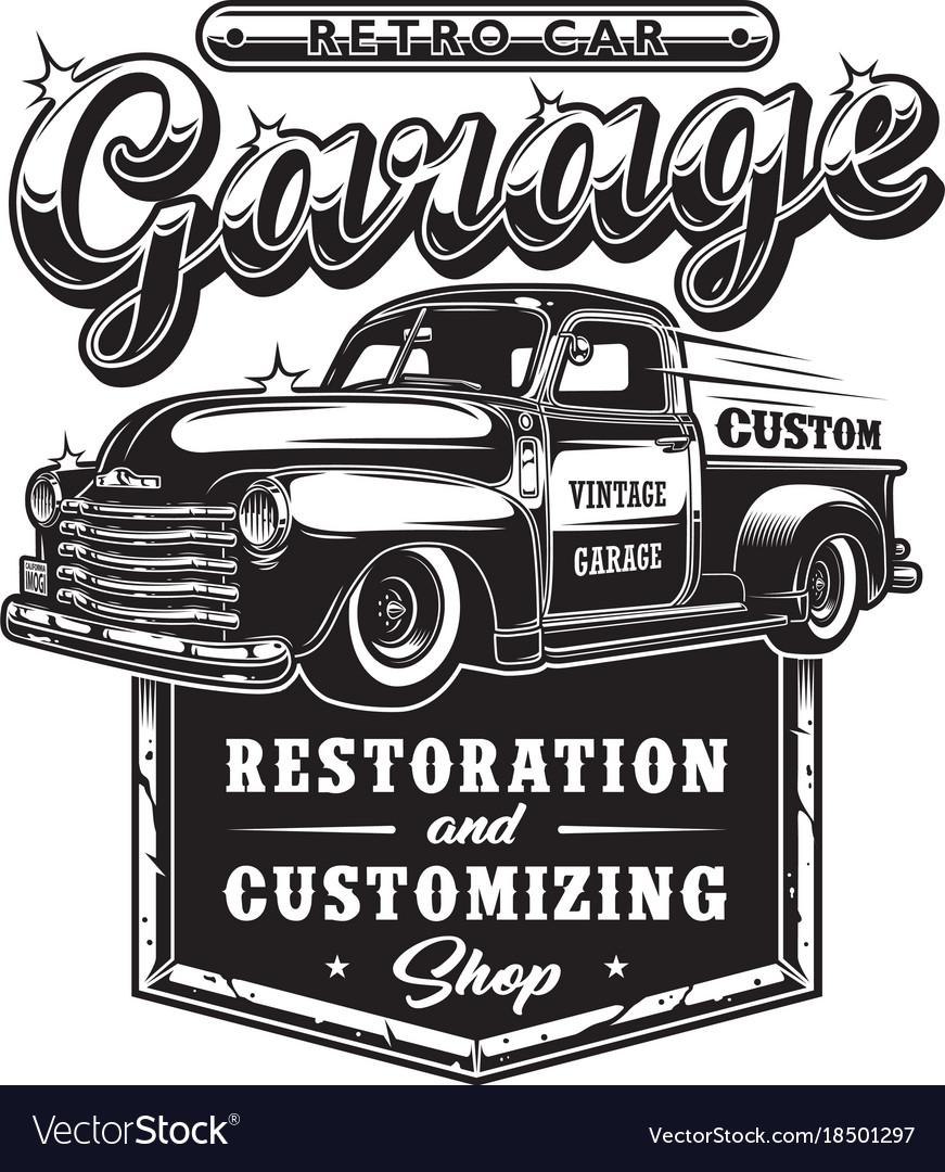 Retro car repair garage sign with retro style Vector Image