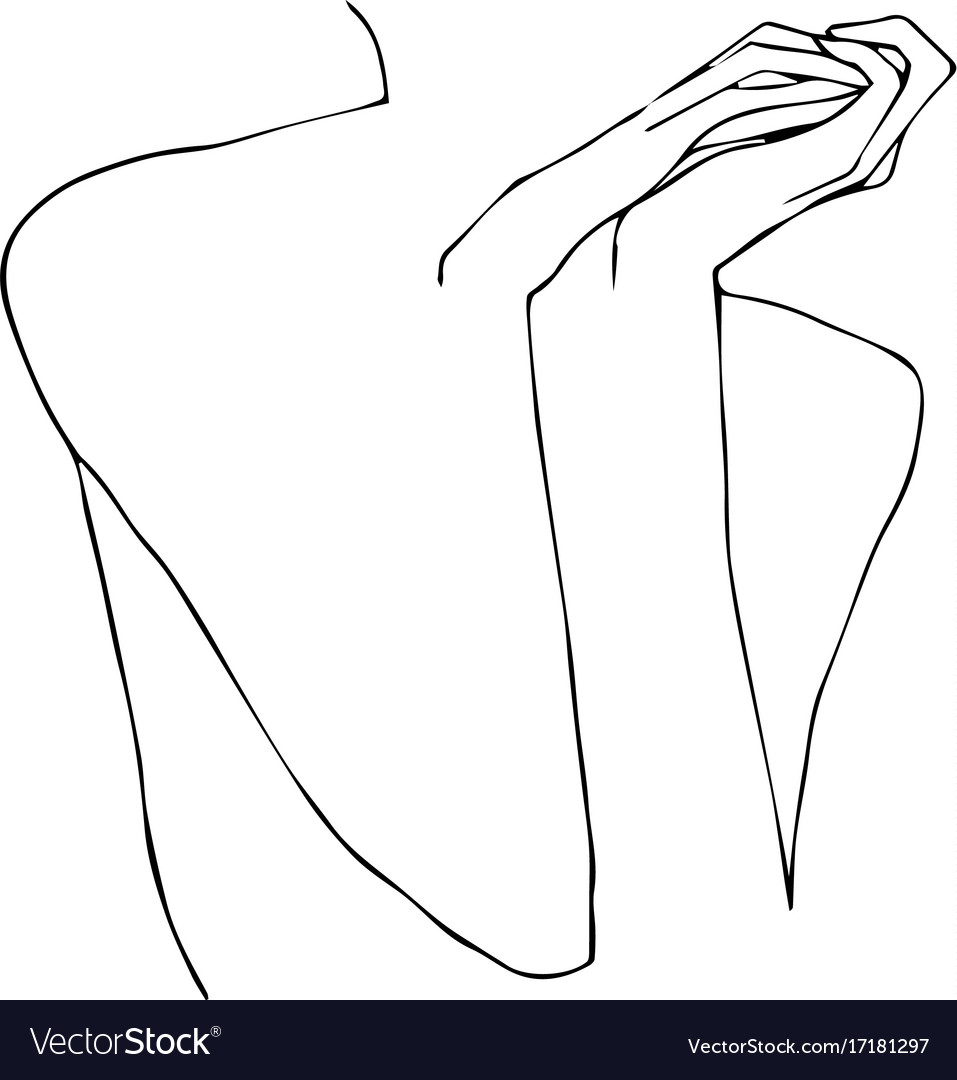 Sketch of a naked girl vector image