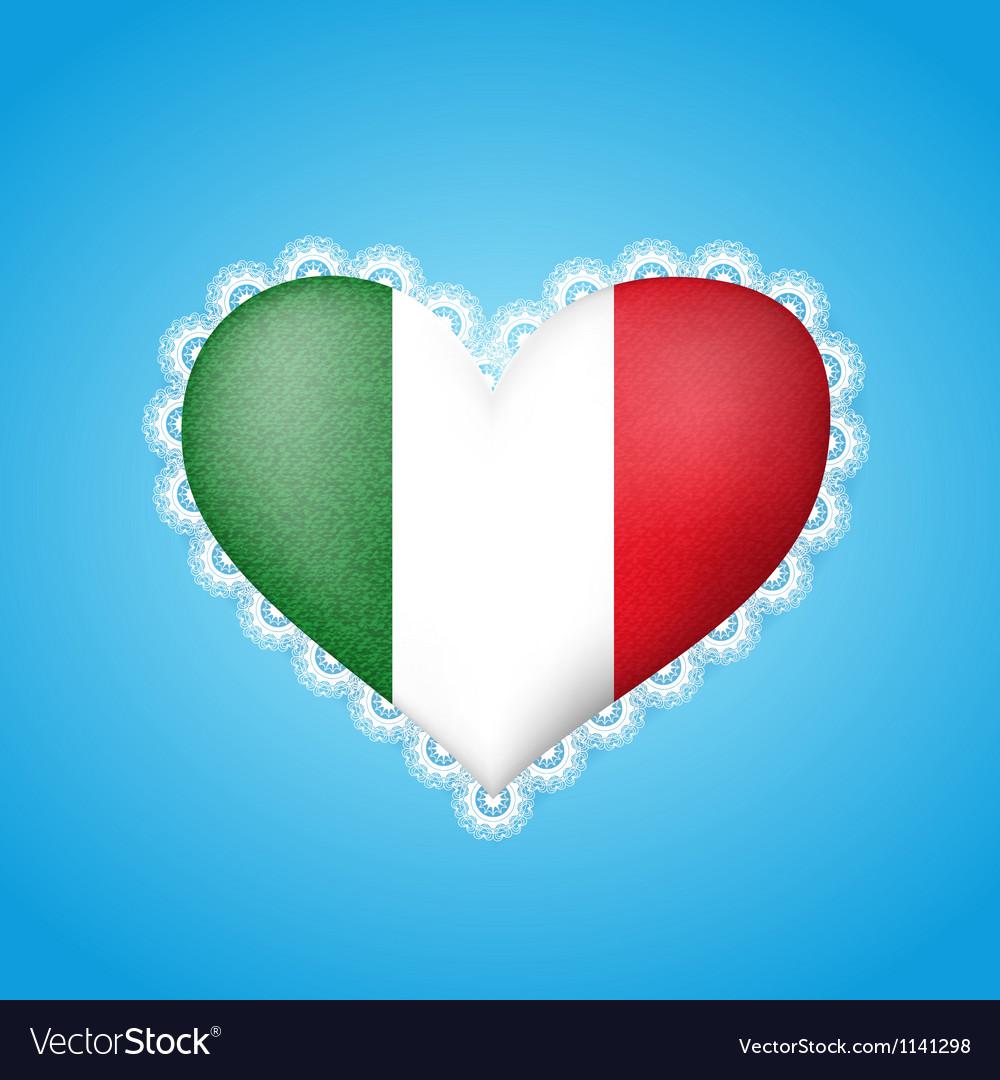 Heart shape flag of Italy vector image