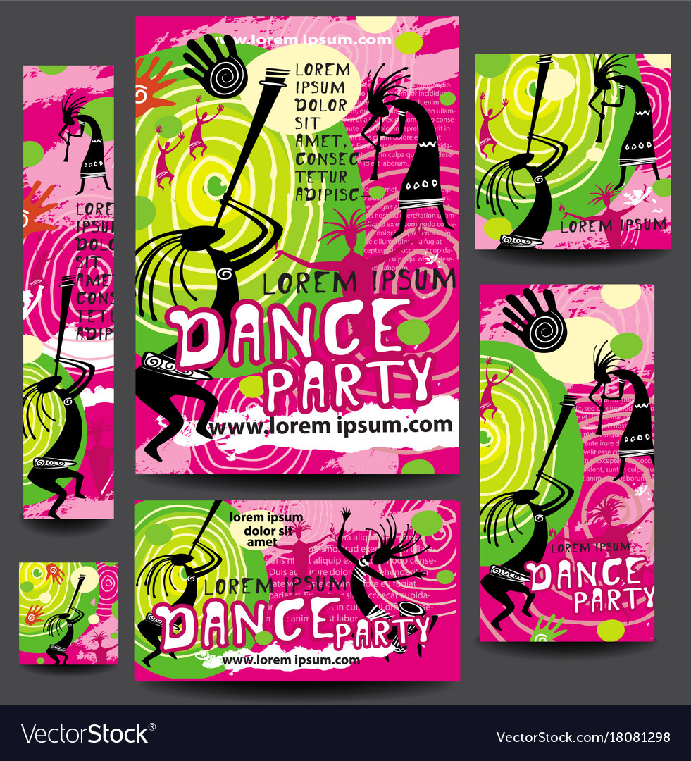Set of party or festival poster template vector image