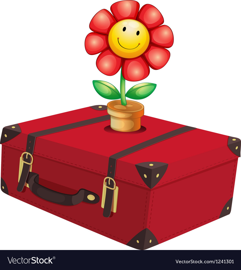 A red travelling bag with a plant vector image