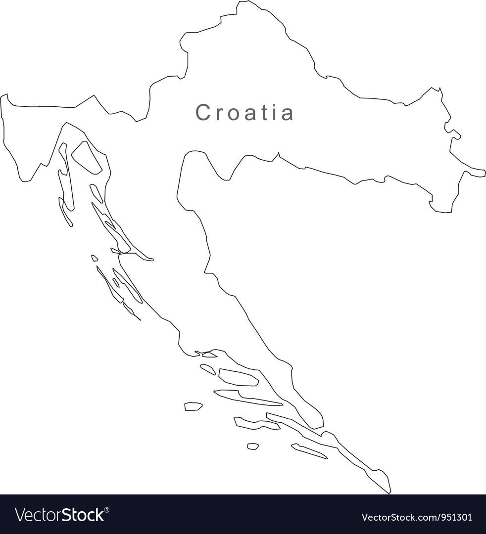 Black White Croatia Outline Map vector image