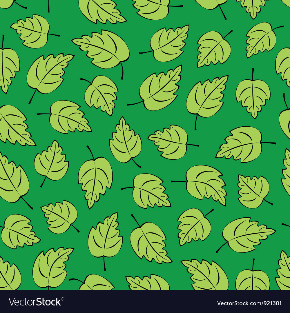 Green Leafs Seamless vector image