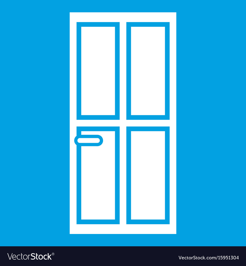 Closed wooden door icon white vector image