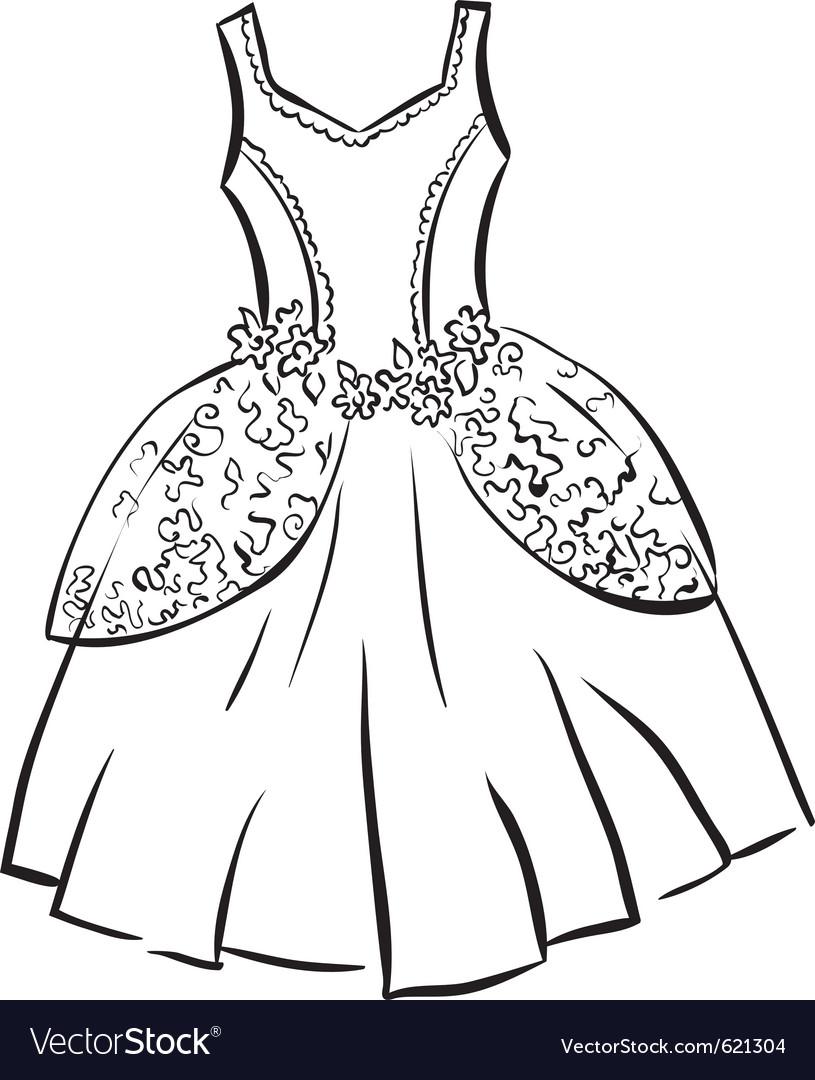 Retro dress outline vector image