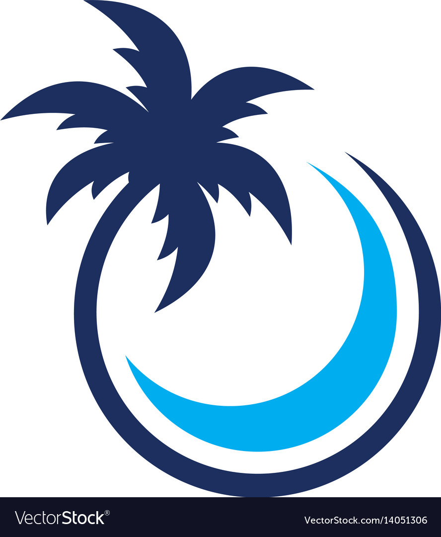 Coconut palm tree with circle vector image
