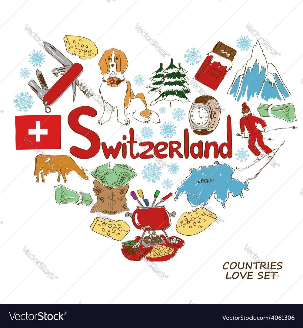 Symbols of switzerland in heart shape concept vector image buycottarizona Image collections