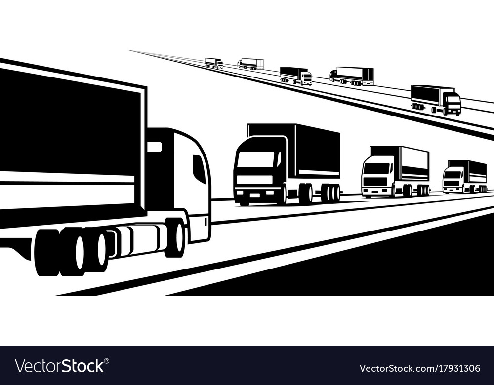 Trucks transporting goods on the road vector image