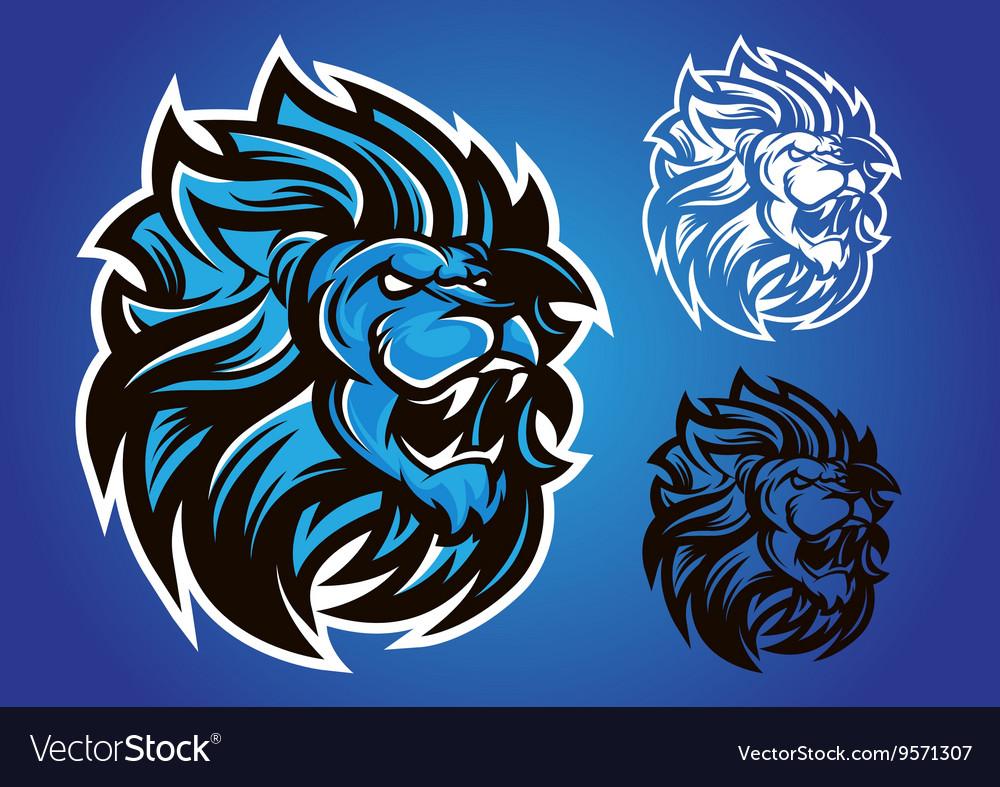 Lion blue logo vector image