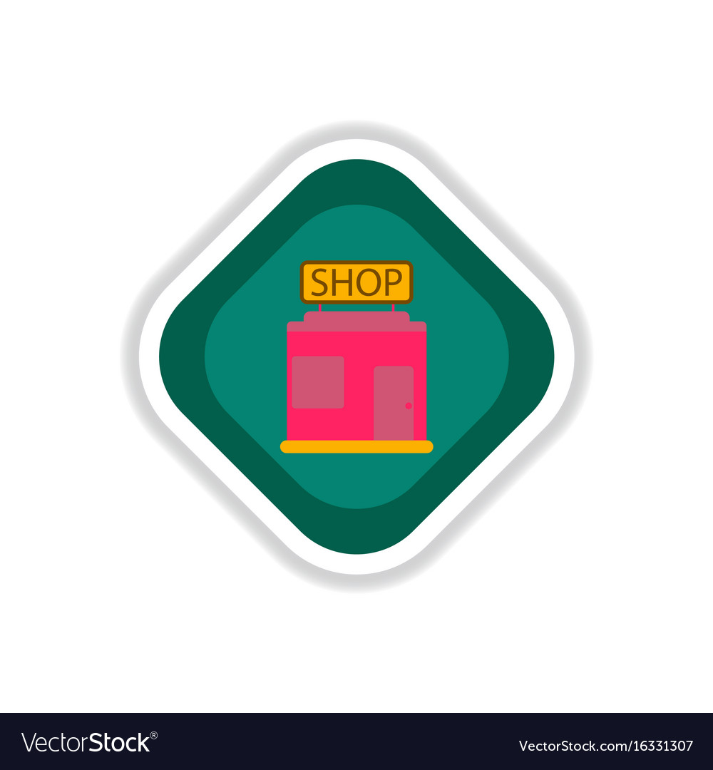 Paper sticker on white background shop vector image