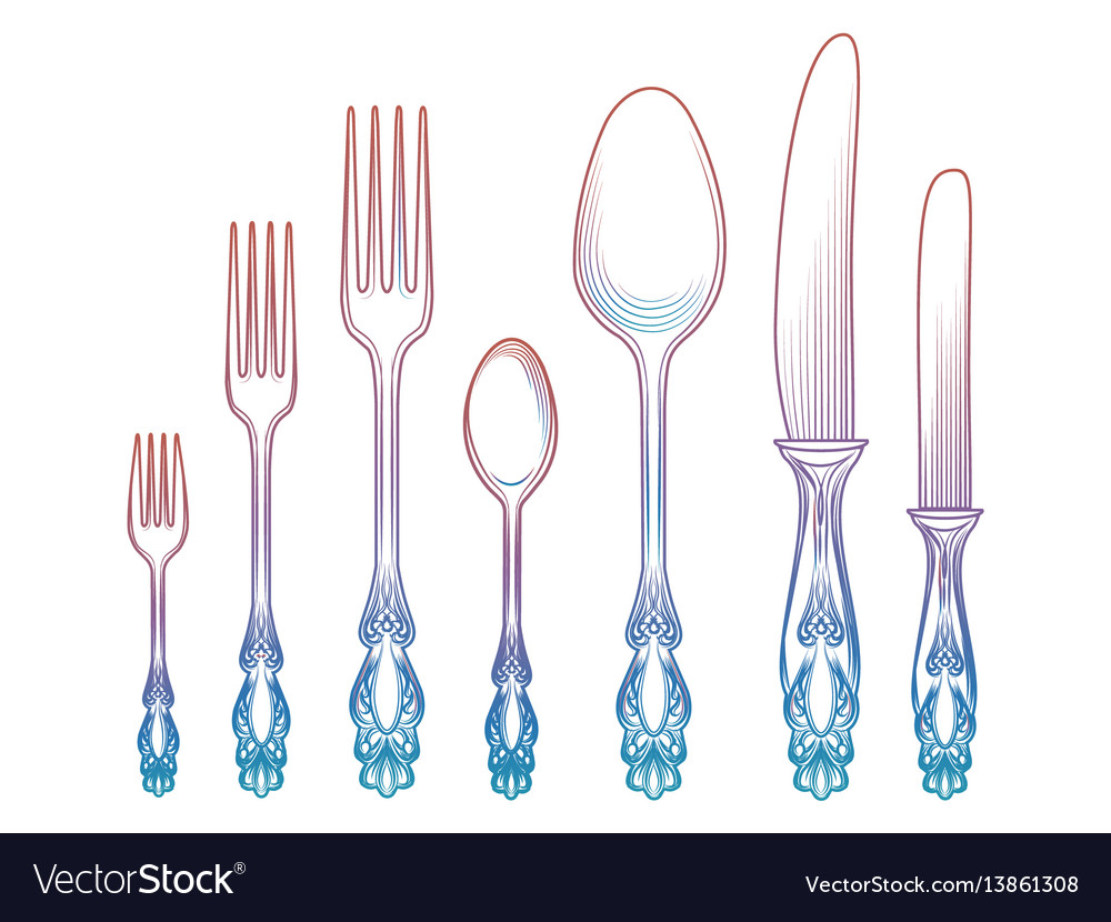 Colorful spoons knives and forks vector image