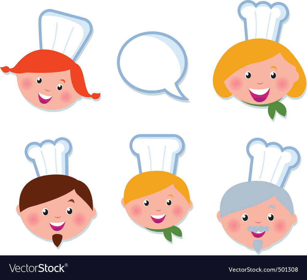 Cute cooking and icons set vector image
