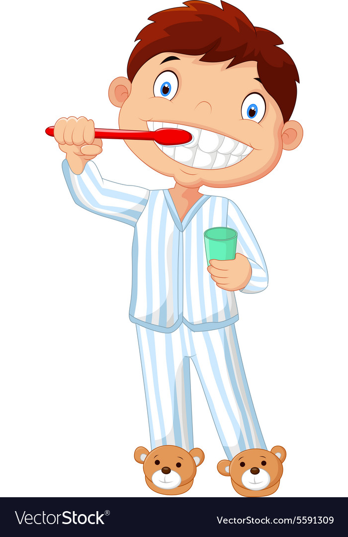 Cartoon little boy brushing his teeth Royalty Free Vector