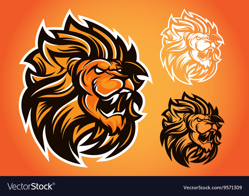 Lion red logo vector image