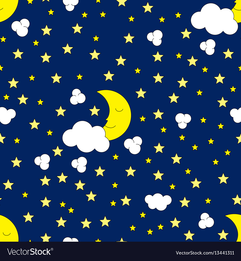 Seamless moon and stars pattern vector image