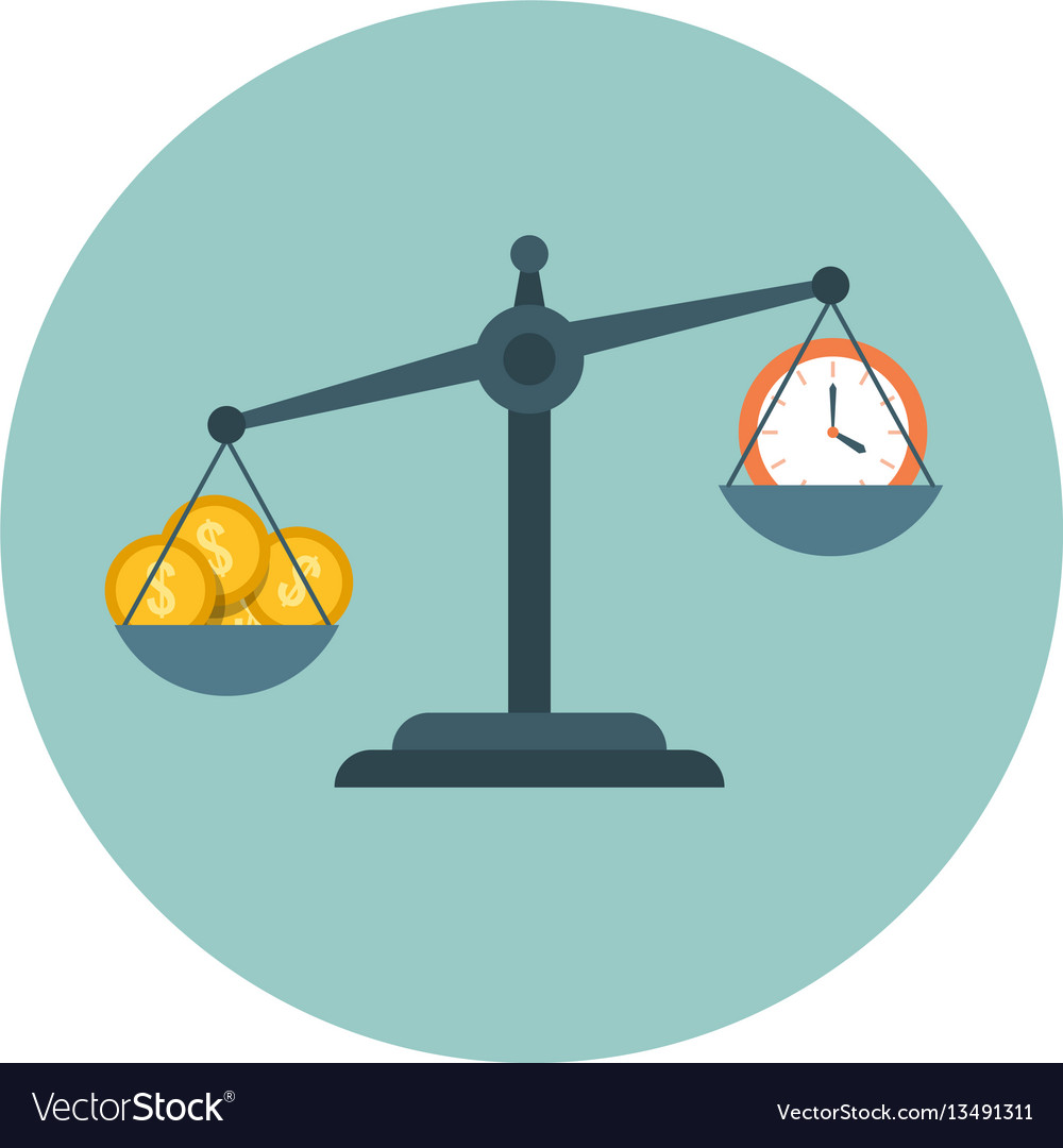 Time is money scale measuring flat time vector image