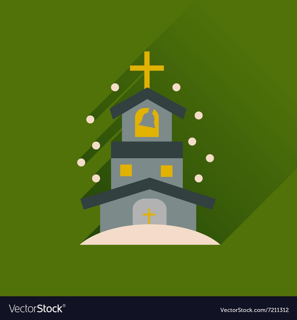 Flat icon with long shadow Catholic church