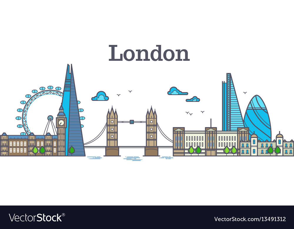 London city view urban skyline with buildings vector image