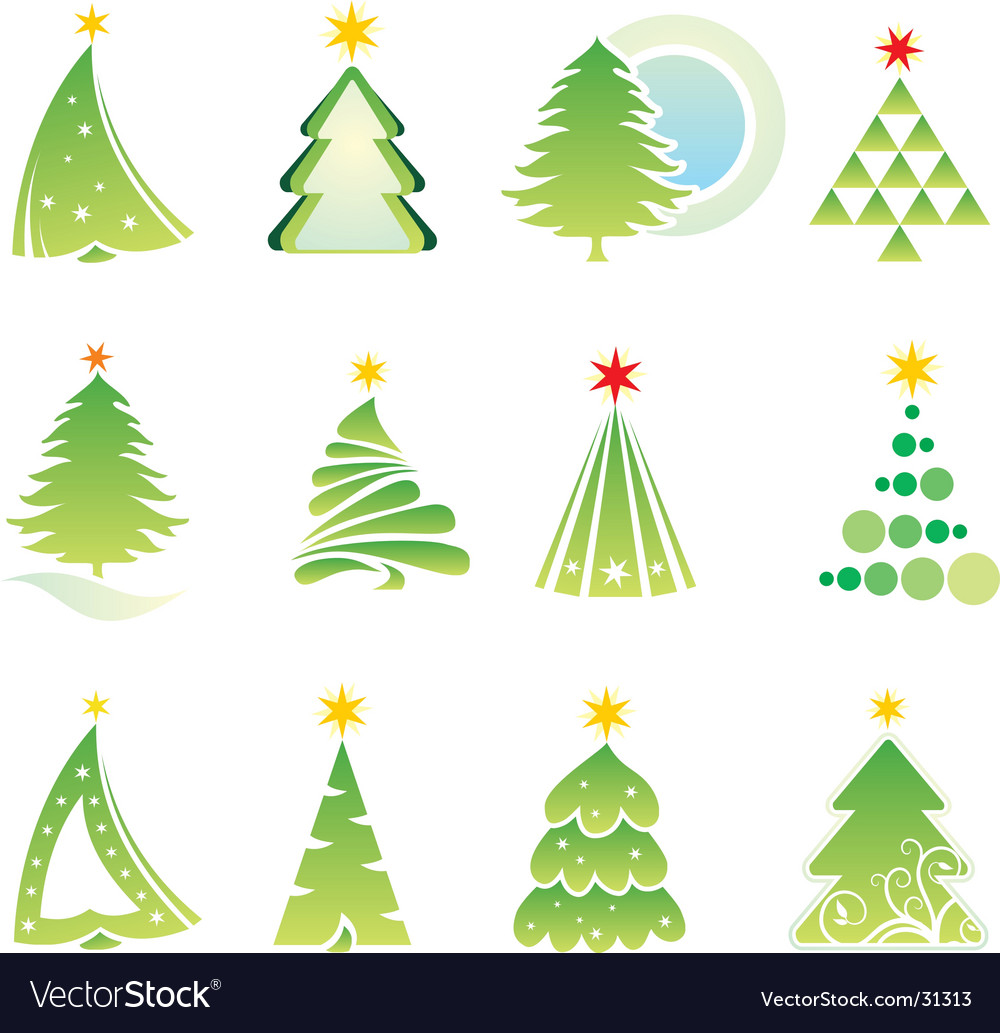 Set of Christmas firs Vector Image