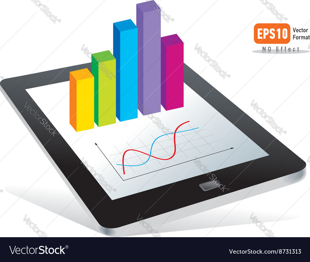 Tablet pc touchpad display color diagram vector image