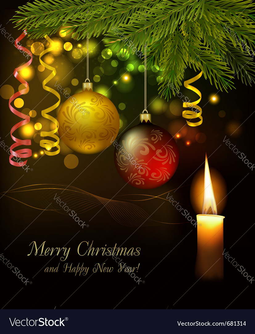 Christmas background with tree and baubles vector image
