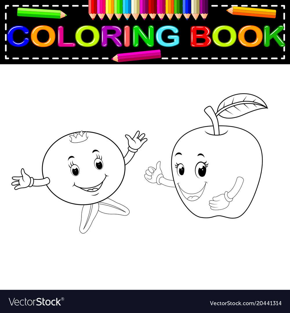 Pomegranate and apple with face coloring book Vector Image