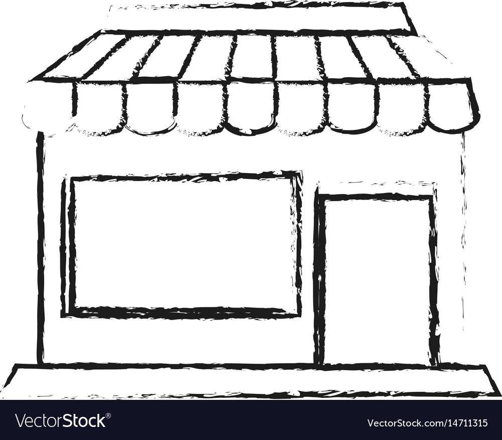 Blurred silhouette cartoon facade shop store vector image