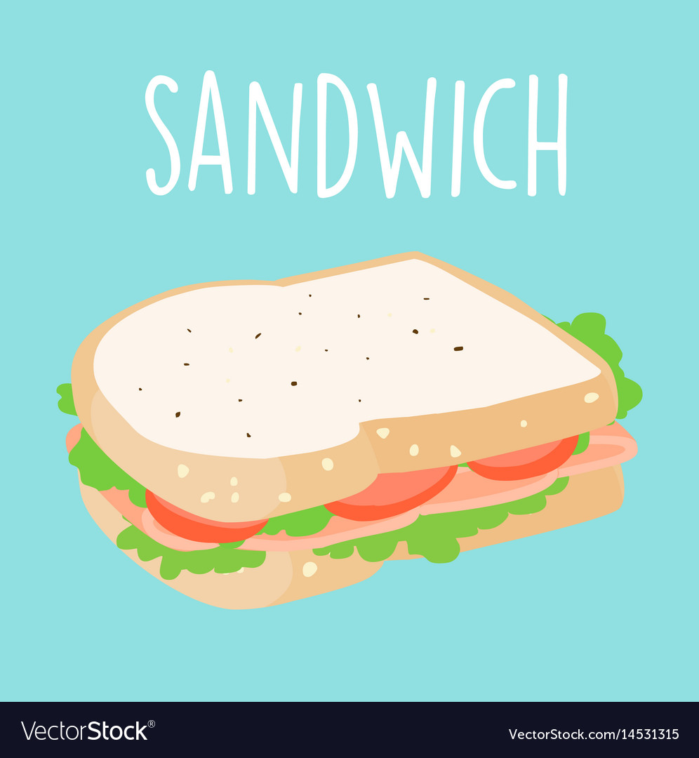 Fresh ham sandwich graphic vector image