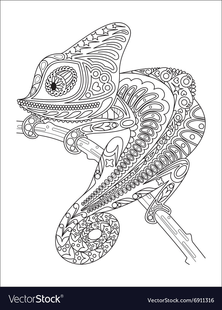 Free coloring pages chameleon - Monochrome Chameleon Coloring Page Black Over Vector Image