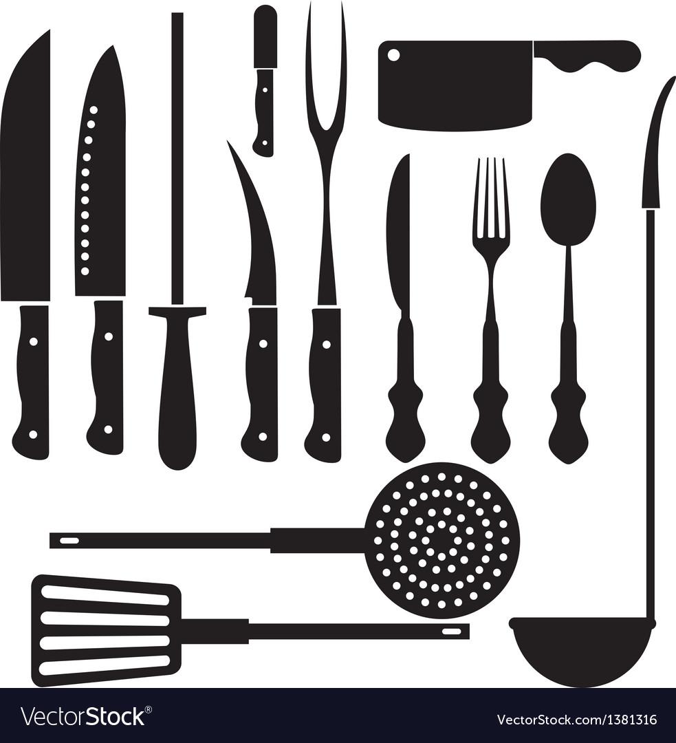 Kitchen Utensils Silhouette Vector Free kitchen tool silhouette royalty free vector image