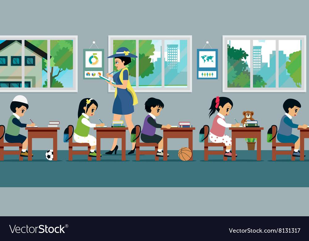 Children in class vector image